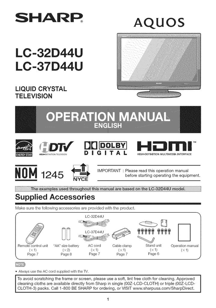 Sharp Aquos LC-37D44U Operating instructions | manualzz com
