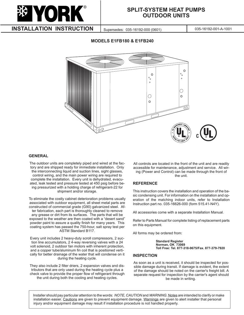 York E1FB240 Installation manual | manualzz com