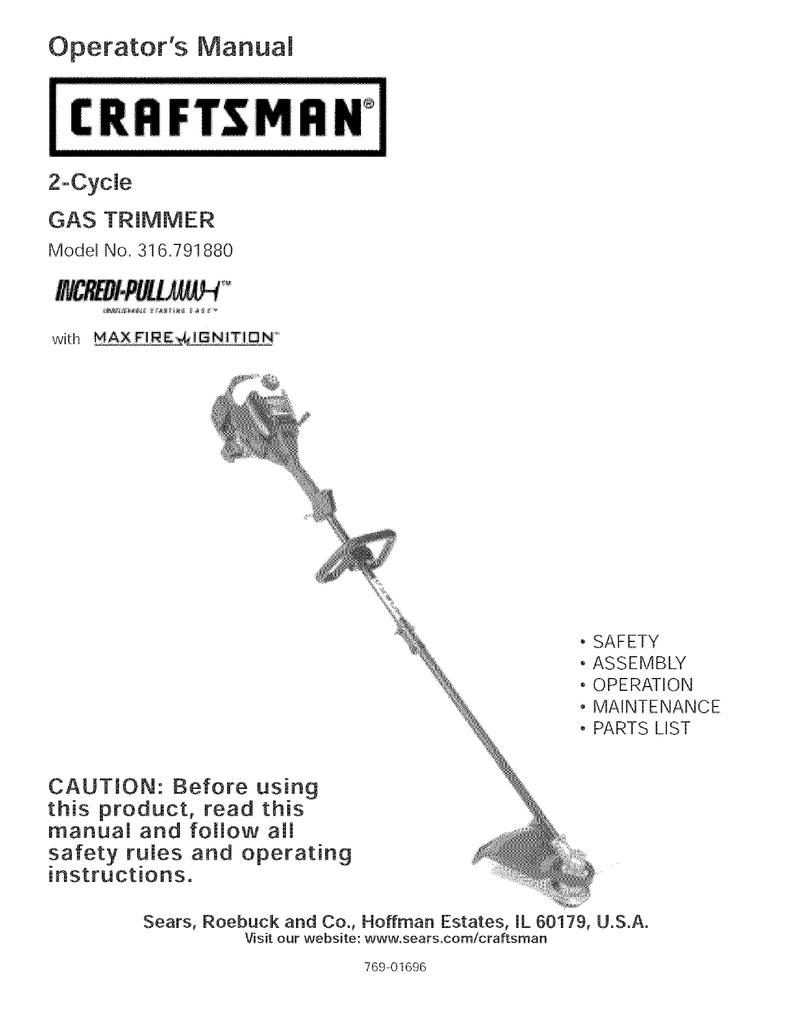 Craftsman Incredi-Pull 316 791880 Operating instructions | manualzz com