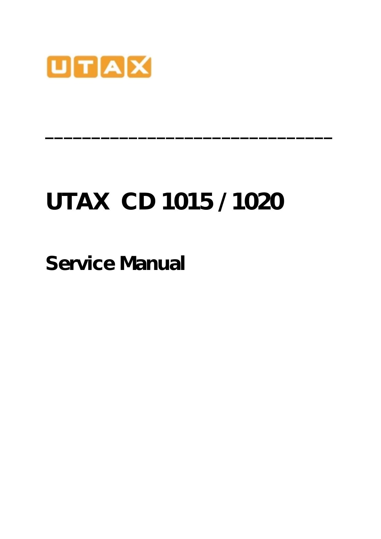 Utax CD 1015 Service manual | manualzz com