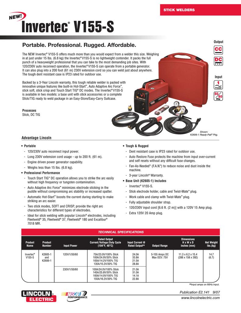 Stick Welders: Invertec V155-S - Lincoln Electric | manualzz com