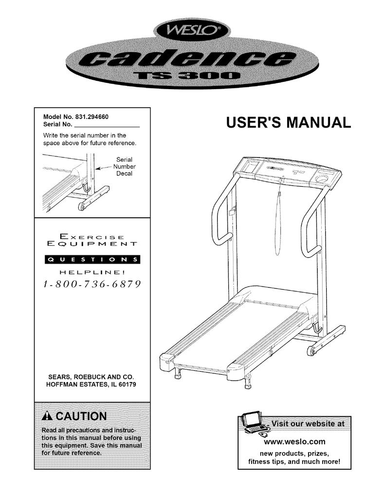 Weslo Cadence Ts300 Users Manual Treadmill Wiring Diagram
