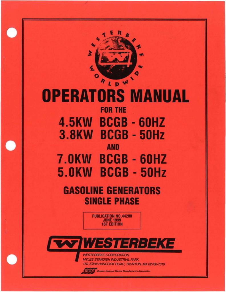 Westerbeke 4.5 KW BCGTE 60Hz Installation manual | manualzz.com on