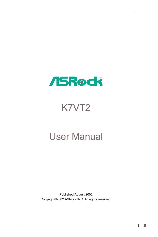 ASROCK K7VT2 VIA 4 IN 1 WINDOWS DRIVER DOWNLOAD
