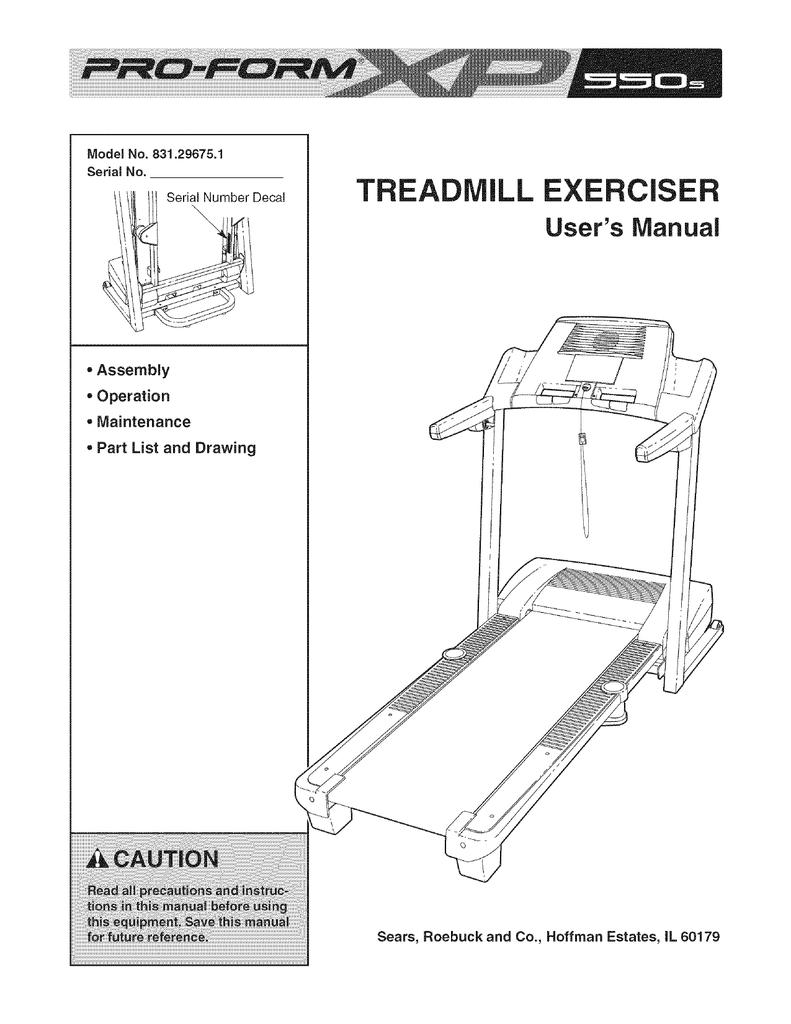 ProForm Treadmill 831 29675 1 User`s manual | manualzz com