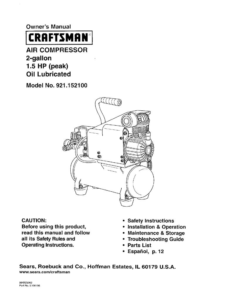 Craftsman 921 152100 Owner S Manual Manualzz