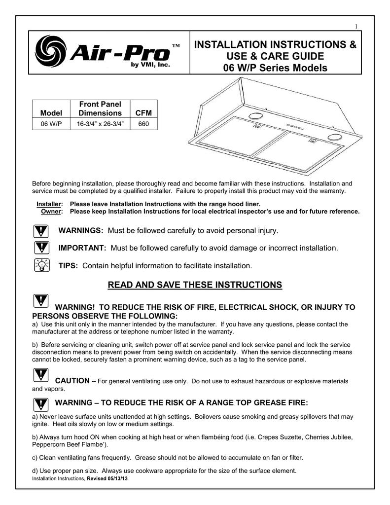 vmi 06 p use & care guide