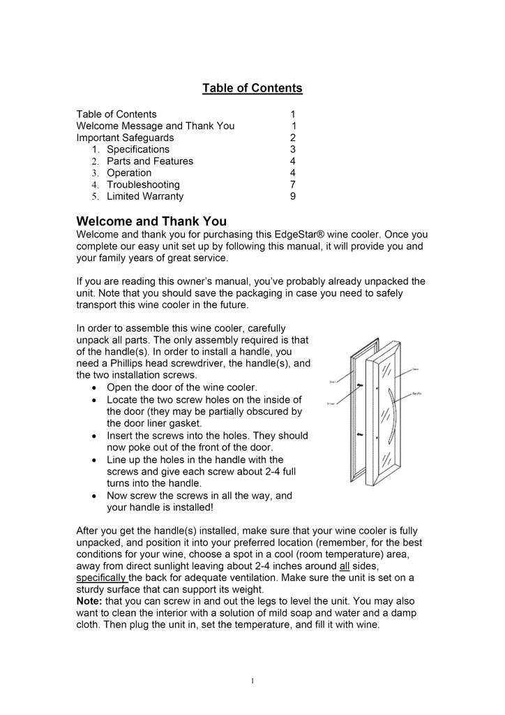 EdgeStar Wine Cooler TWR320EBL Specifications | Manualzzmanualzz