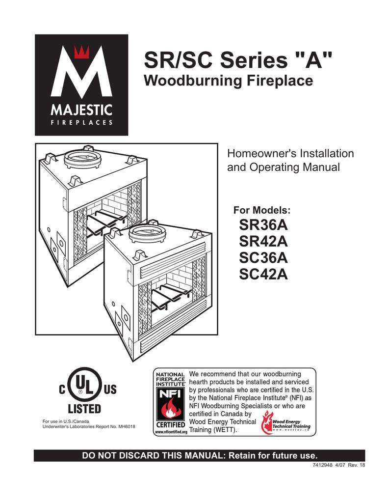 Majestic Fireplaces Sr42a Installation Manual Manualzz