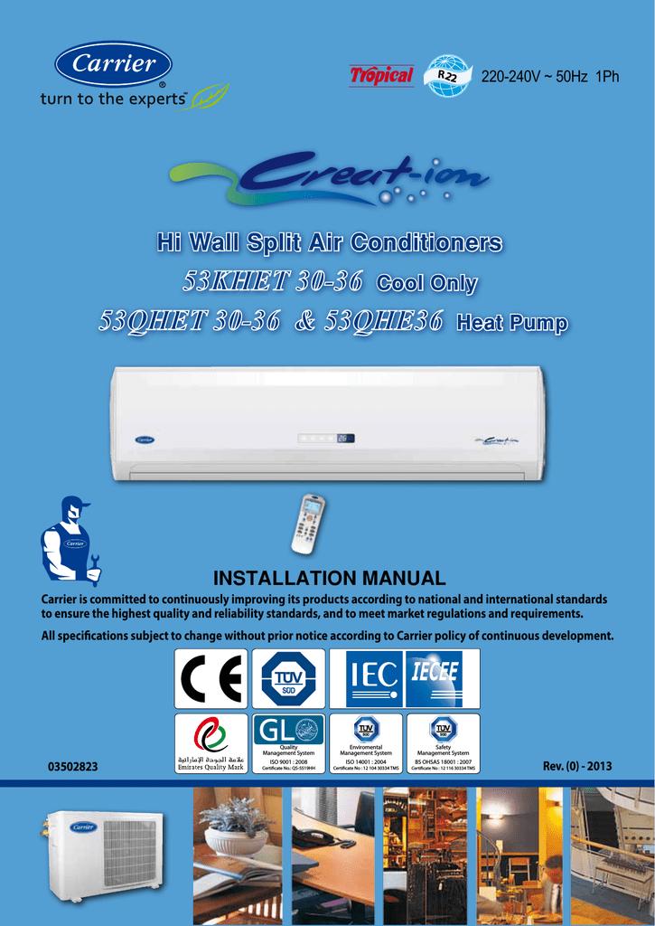 Carrier 53KHET36 Installation manual   manualzz.com