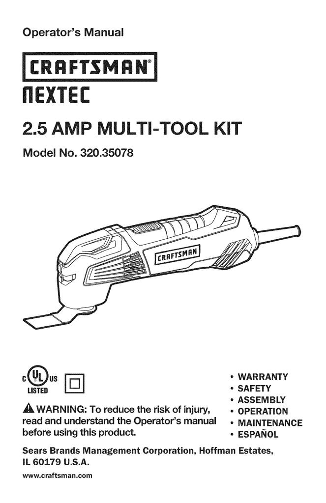 Craftsman NEXTEC 320.35078 Operator`s manual | manualzz.com on