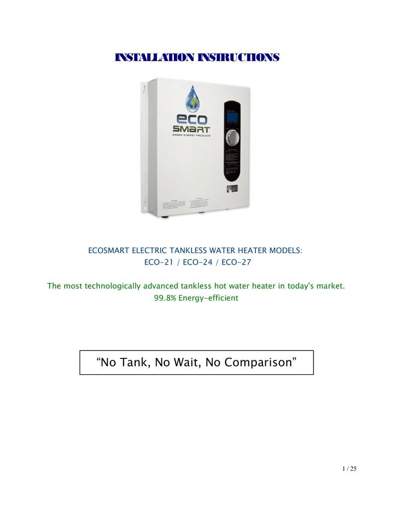 Ecosmart Eco 27 Specifications Manualzz