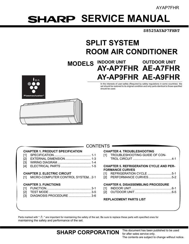 Sharp Ay Ap7fhr Service Manual Outdoor Unit Wiring Diagrams