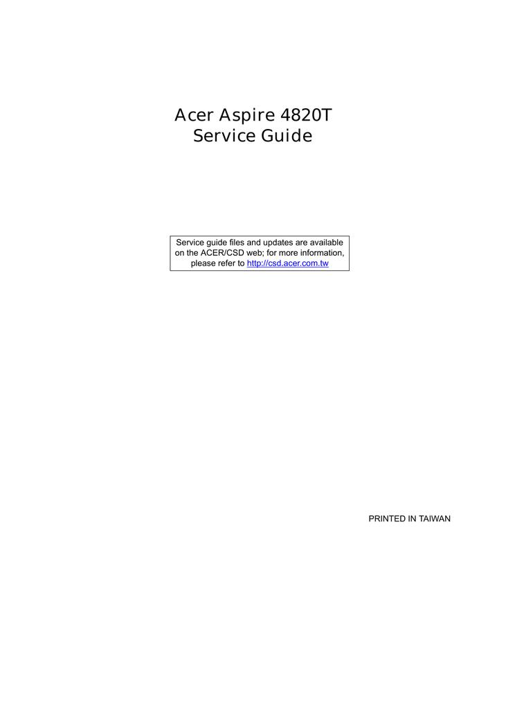 Acer 4820T Laptop User Manual | manualzz com