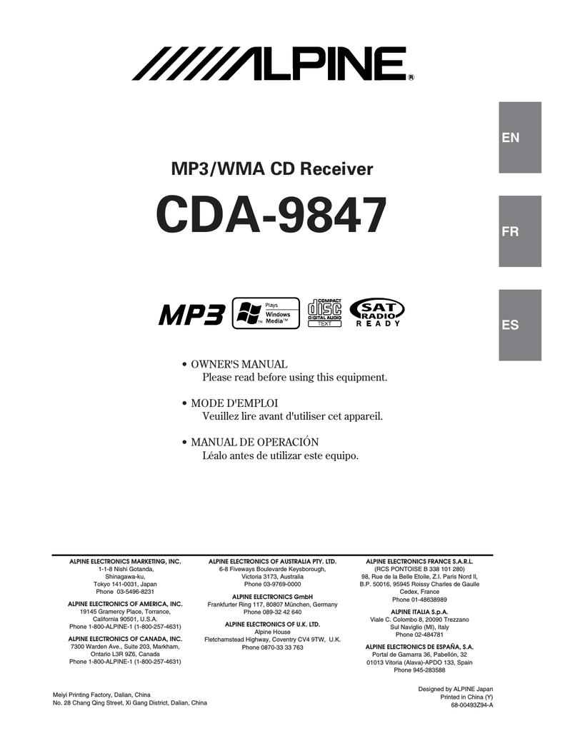 6b338 Alpine Cda 9847 Wiring Diagram Wiring Resources