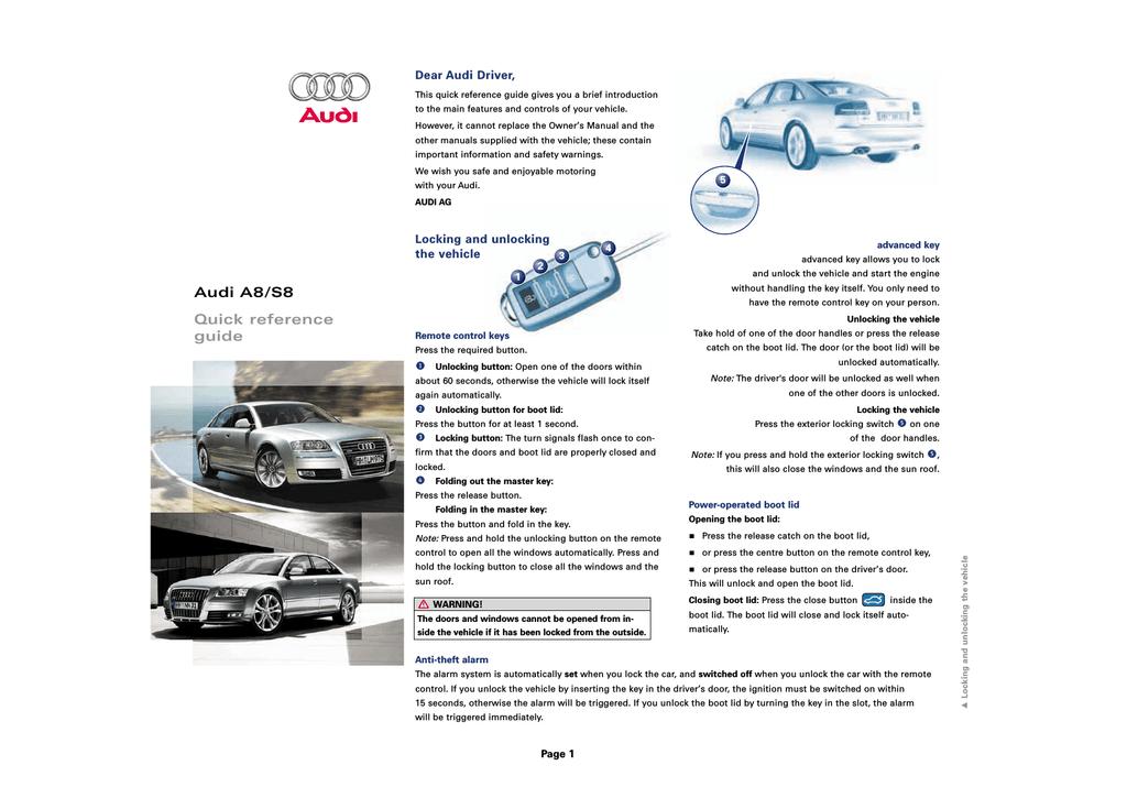 Audi A8 Automobile User Manual   manualzz com