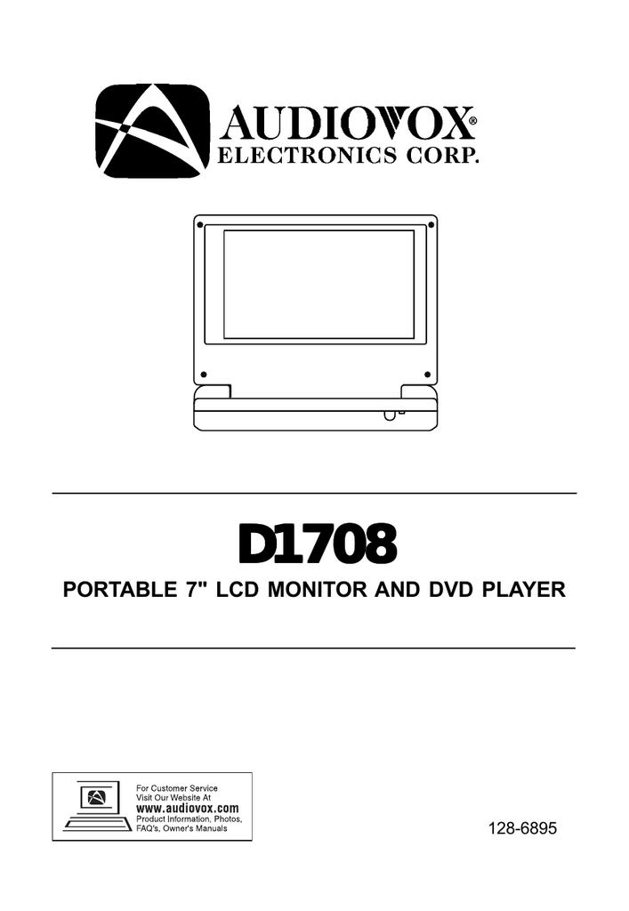 Audiovox D1708 Portable Dvd Player User Manual
