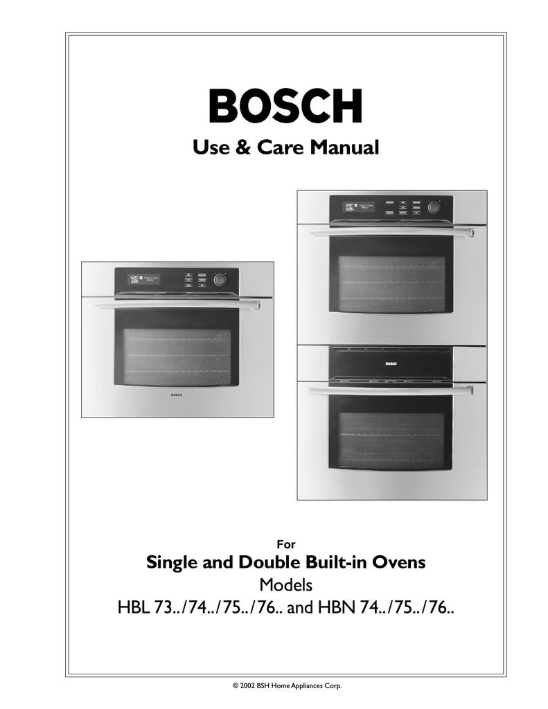 Bosch Liances Hbl 74 Oven User