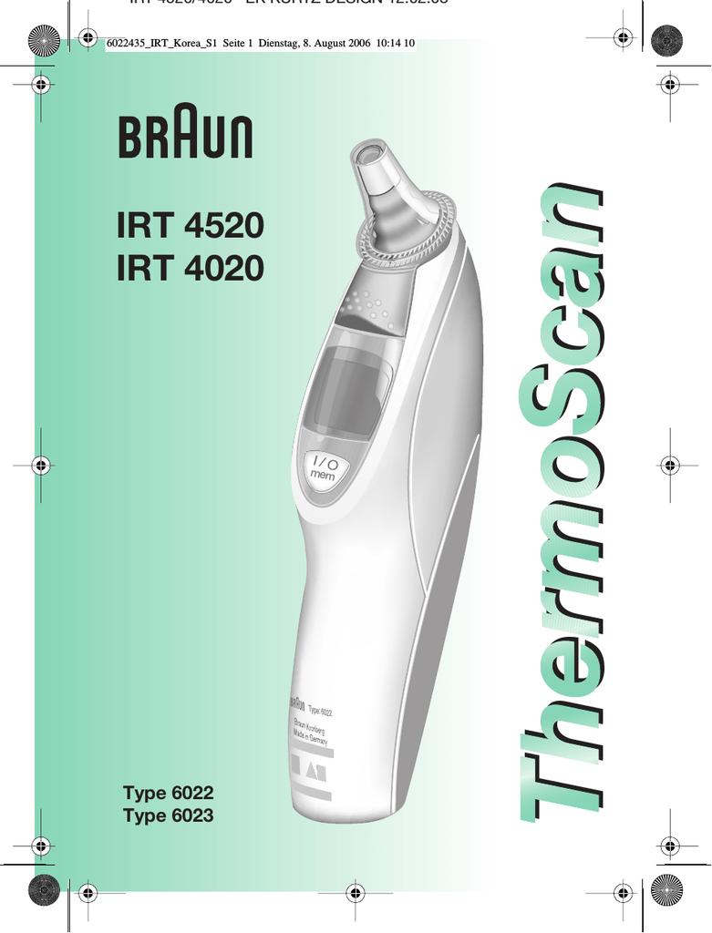 Braun Irt4020 Thermometer User Manual Manualzz