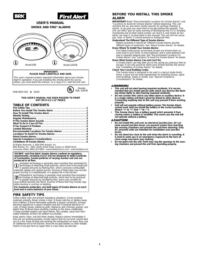 BRK electronic 83R Smoke Alarm User Manual | manualzz com