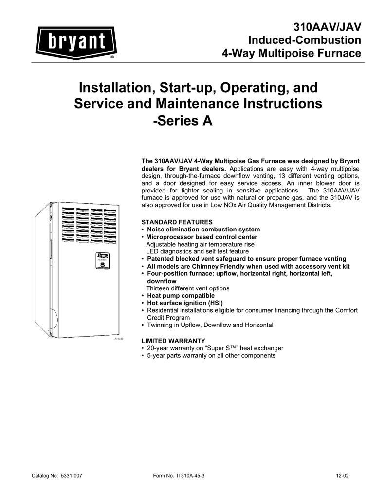 Bryant 310AAV Furnace User Manual | manualzz com