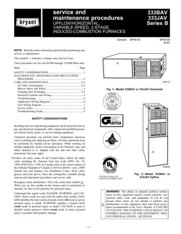 Bryant 333bav Furnace User Manual, Bryant Furnace Wiring Diagram