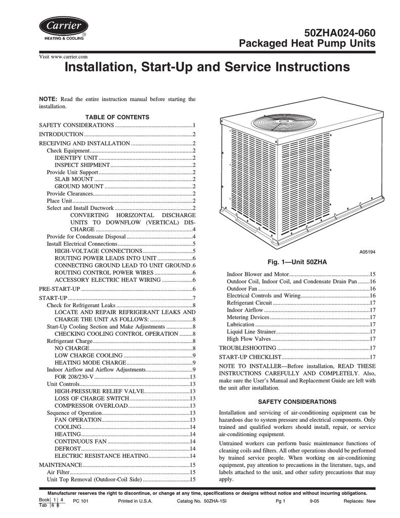 Carrier 50zha024 060 Heat Pump User Manual Electrical Control Wiring Book