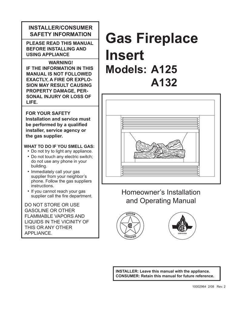 Cfm Corporation A125 Indoor Fireplace User Manual Manualzz