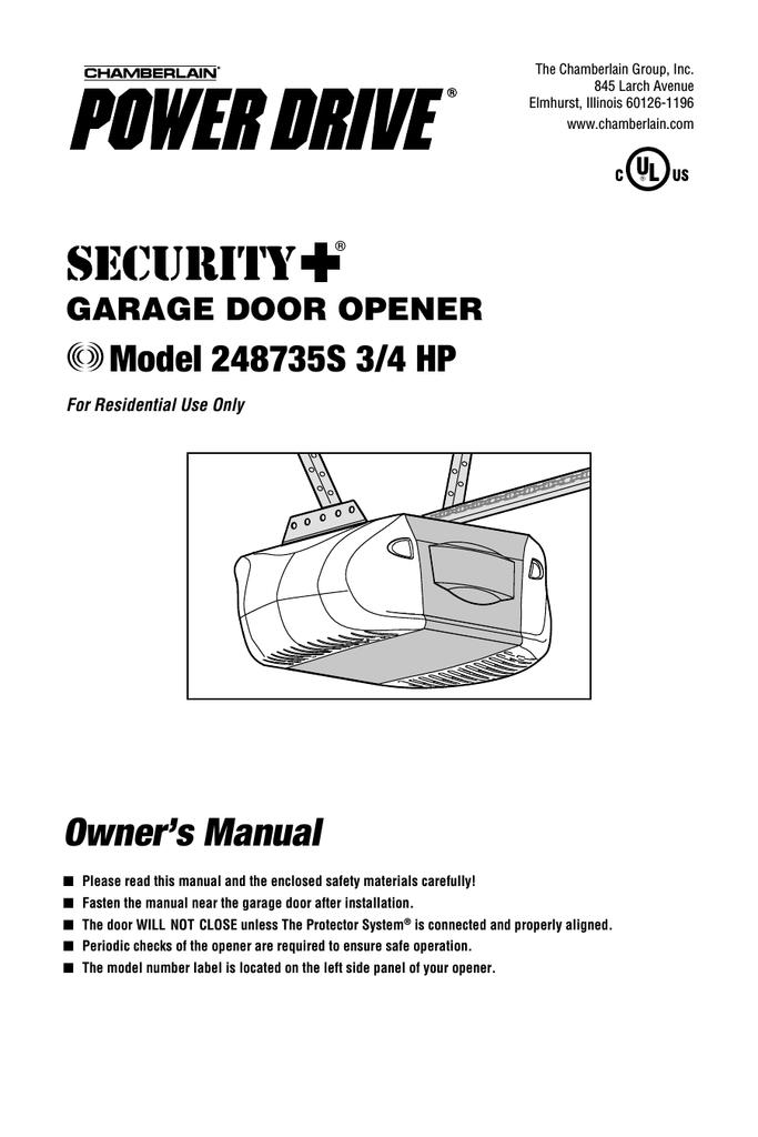 Chamberlain 248735s 3 4 Hp Garage Door Opener User Manual Manualzz