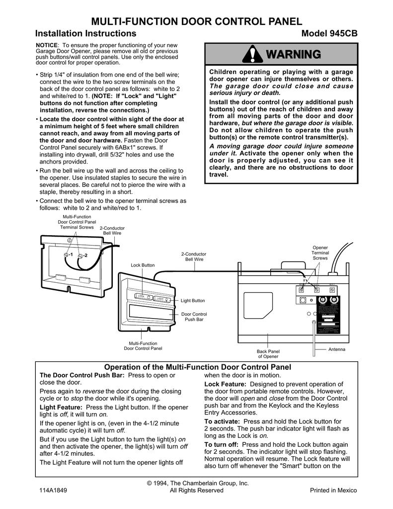 Chamberlain 945cb Garage Door Opener User Manual Manualzz