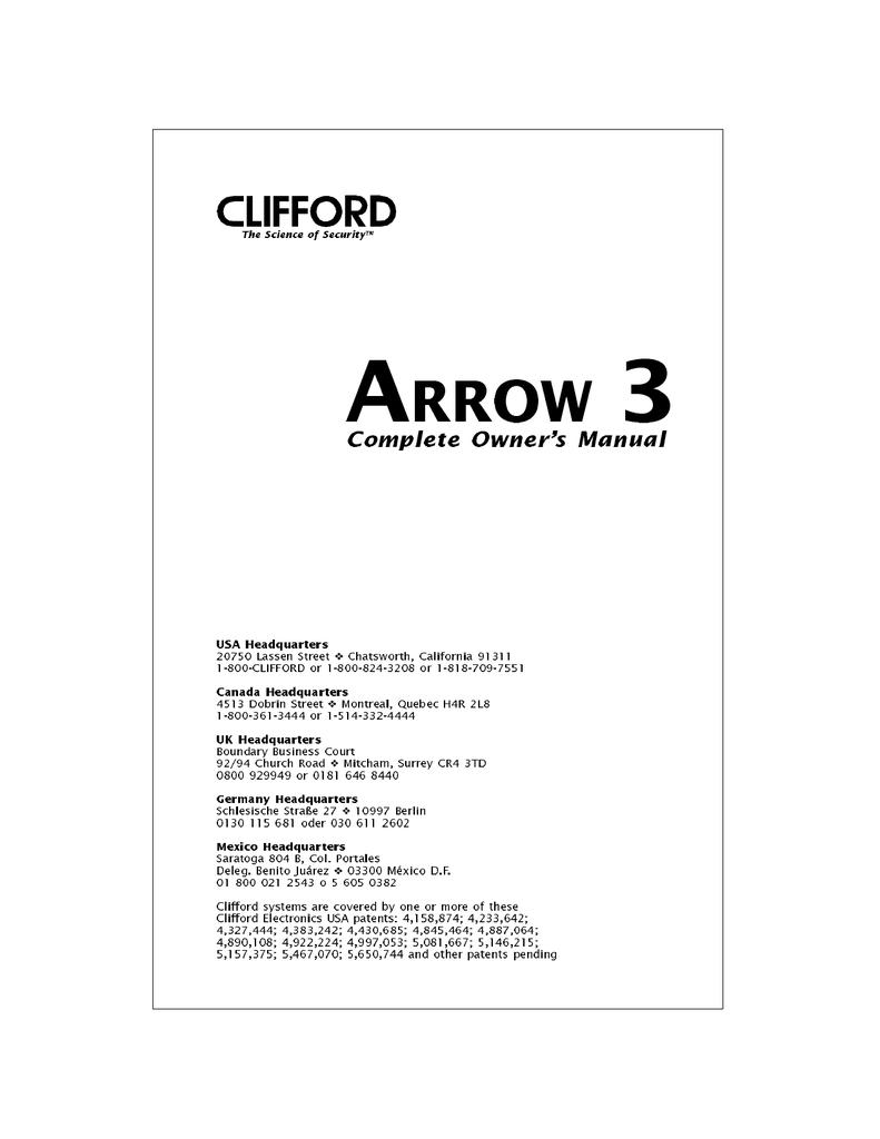 Clifford Arrow 3 Wiring Diagram Free Download Alarm Diagrams Auto Hq Wire Center U2022