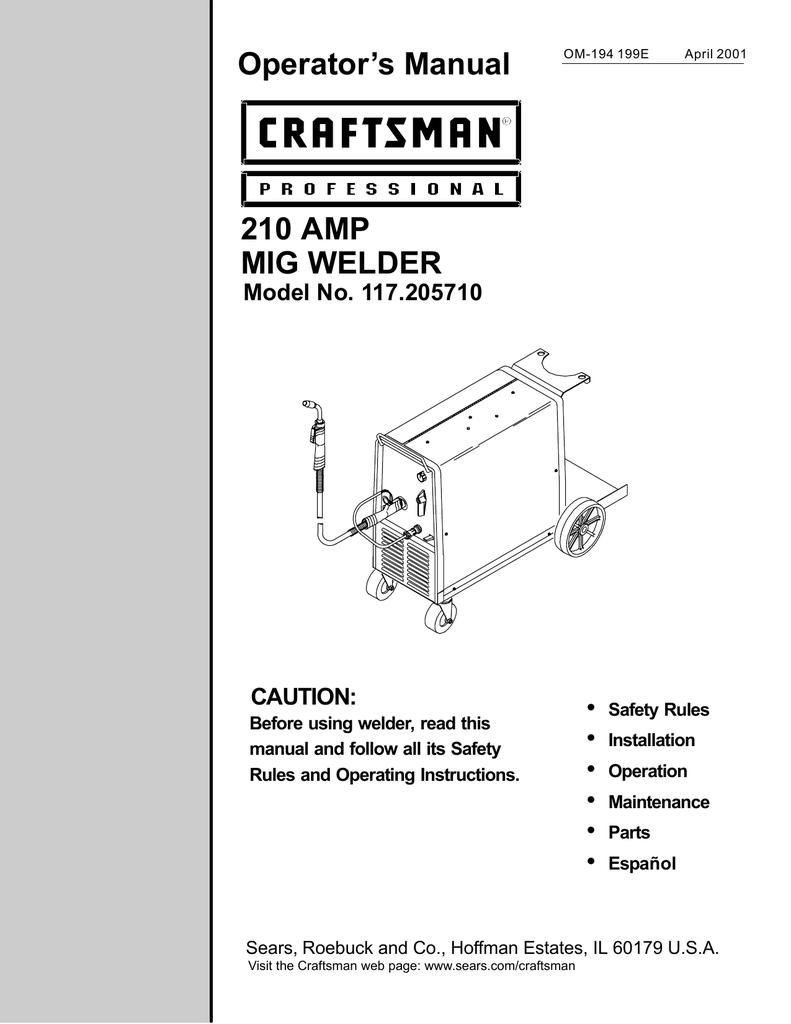 Craftsman 117205710 Welder User Manual Wiring Diagram