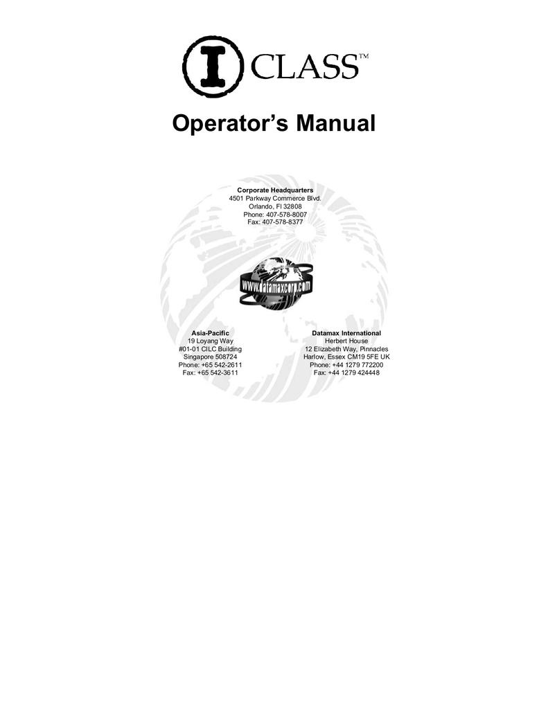 Datamax I-4208 Printer User Manual