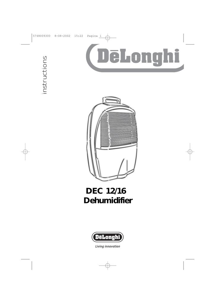 Delonghi Dec16 Dehumidifier User Manual Manualzz