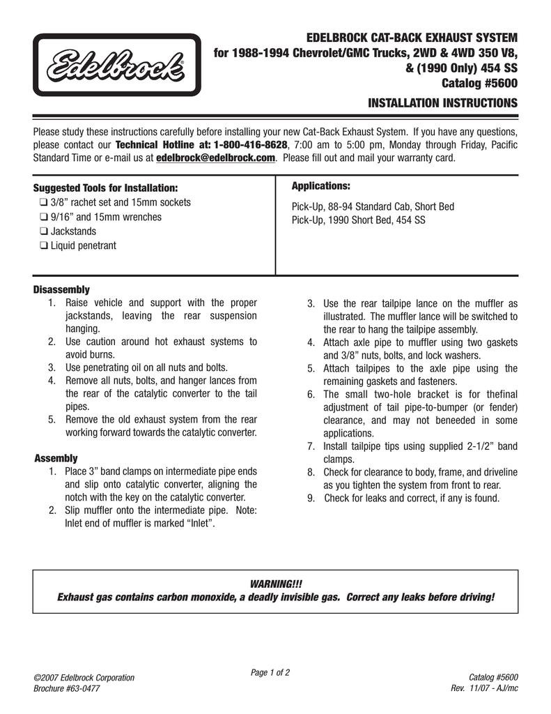 Edelbrock 454 SS Automobile Parts User Manual   manualzz com