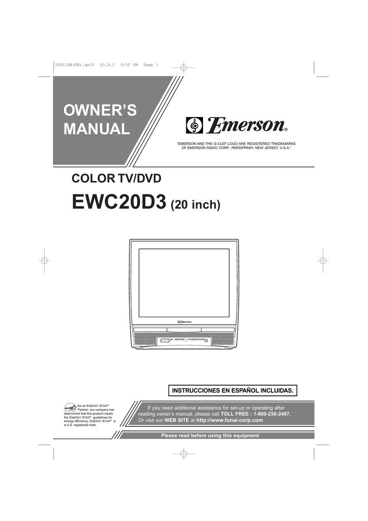 Emerson EWC20D3 TV DVD Combo User Manual | manualzz com