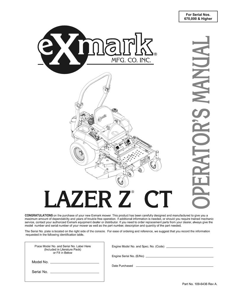 Exmark Lazer Z Ct Lawn Mower User Manual Manualzz