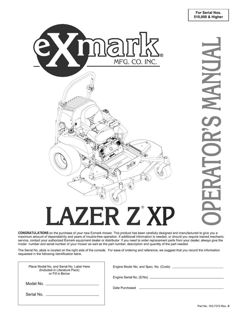 Exmark Lazer Z XP Lawn Mower User Manual | manualzz com