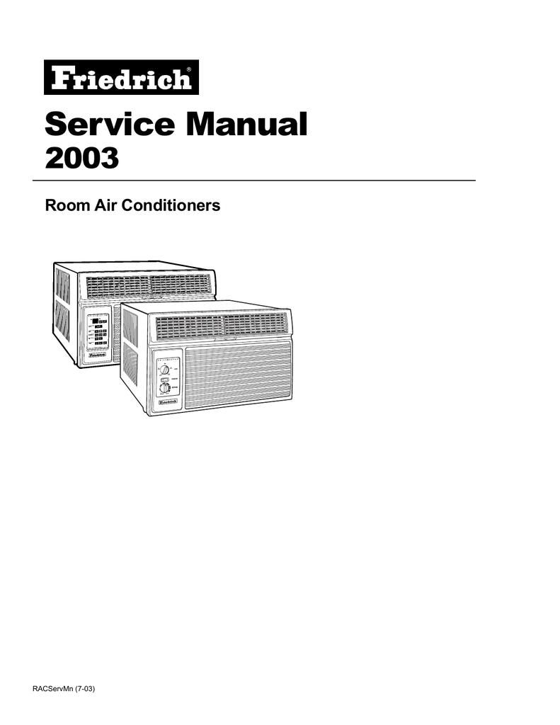 Friedrich 2003 Air Conditioner User Manual Manual Guide