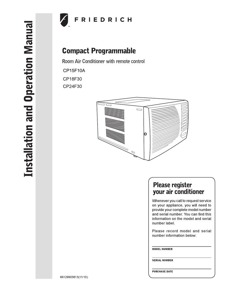 Friedrich Cp24f30 Air Conditioner User Manual Manual Guide