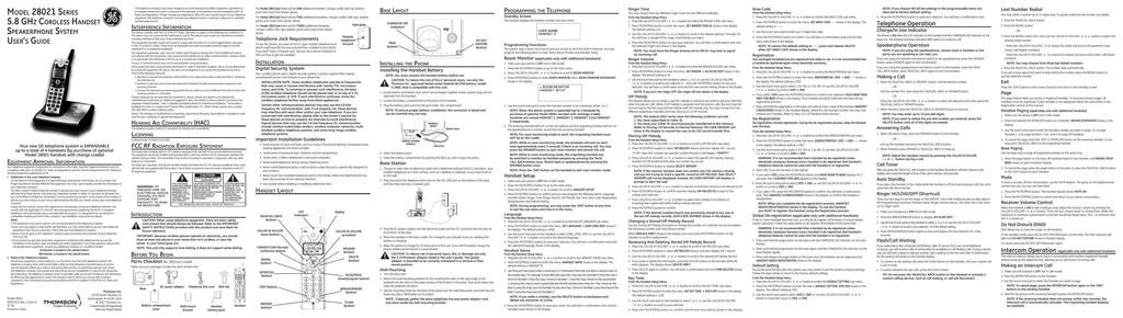 GE 28021 Cordless Telephone User Manual | manualzz com