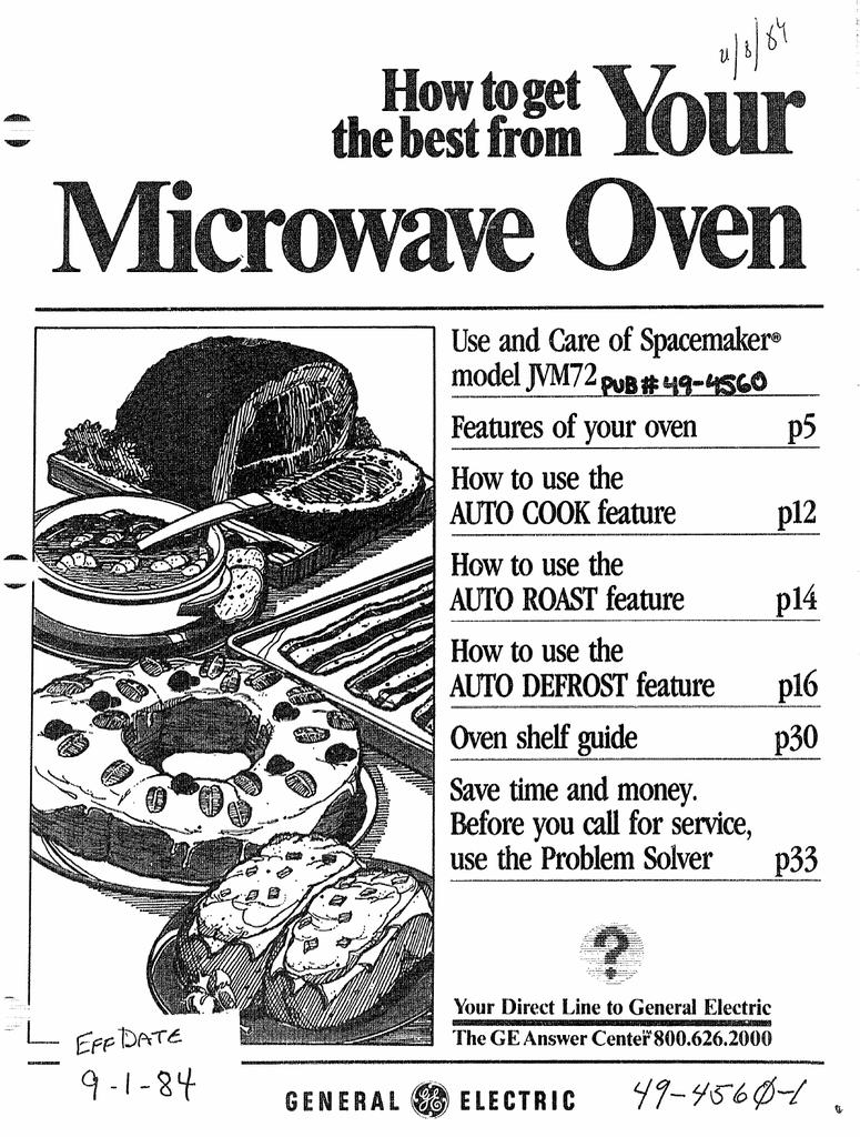 Ge 49 4560 1 Microwave Oven User Manual