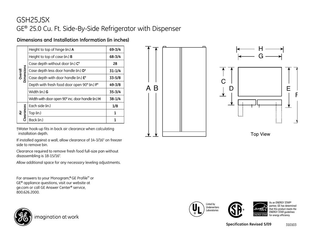 GE GSH25JSXSS Refrigerator User Manual | manualzz.com on
