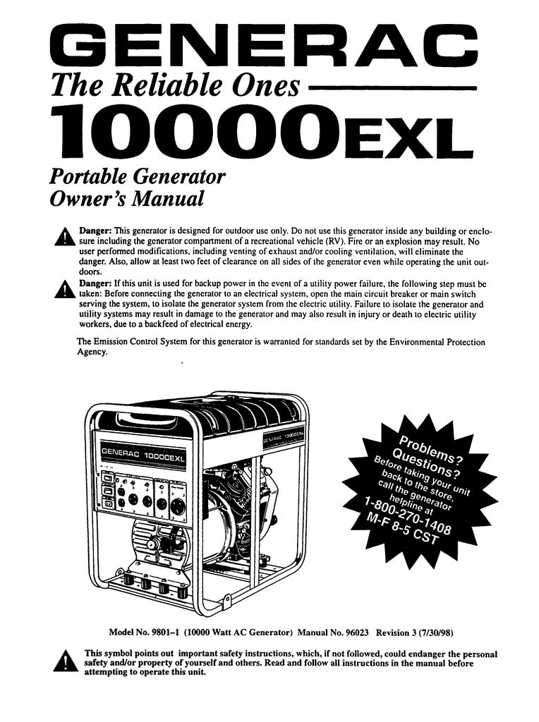 Generac 10000exl Portable Generator User Manual Manualzz
