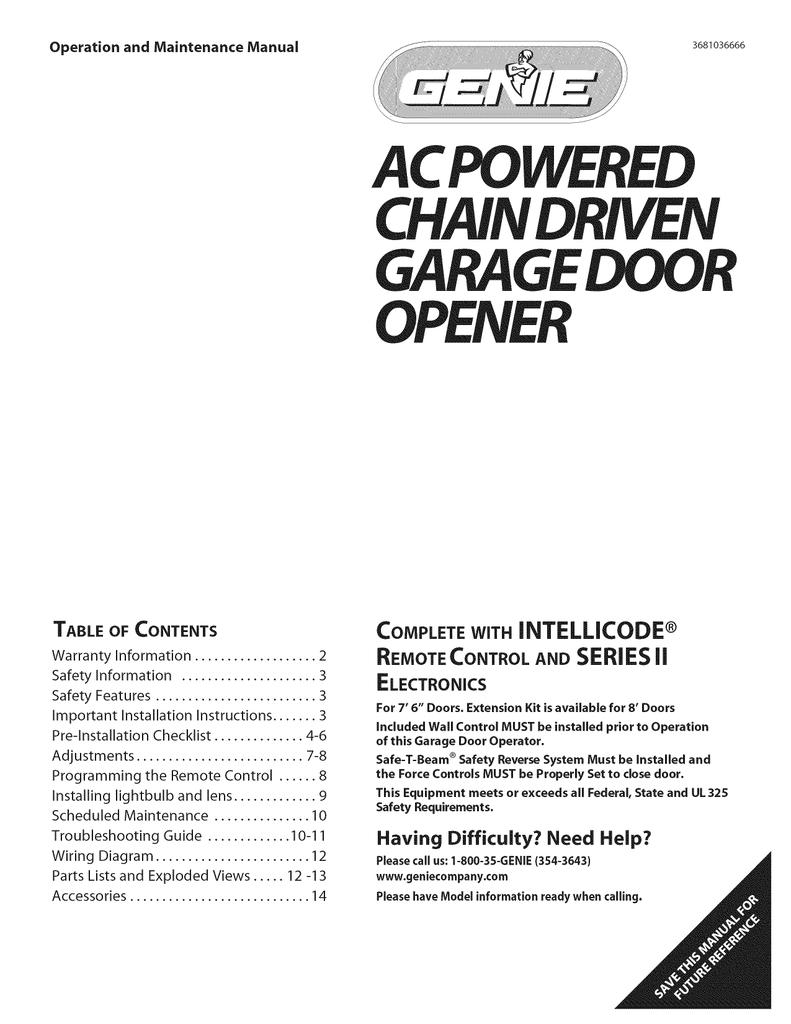 Genie 3681036666 Garage Door Opener User Manual Manualzz