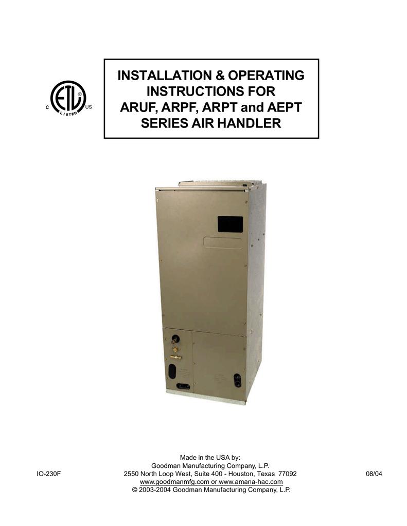 Goodman Mfg Arpf Air Conditioner User Manual Manual Guide