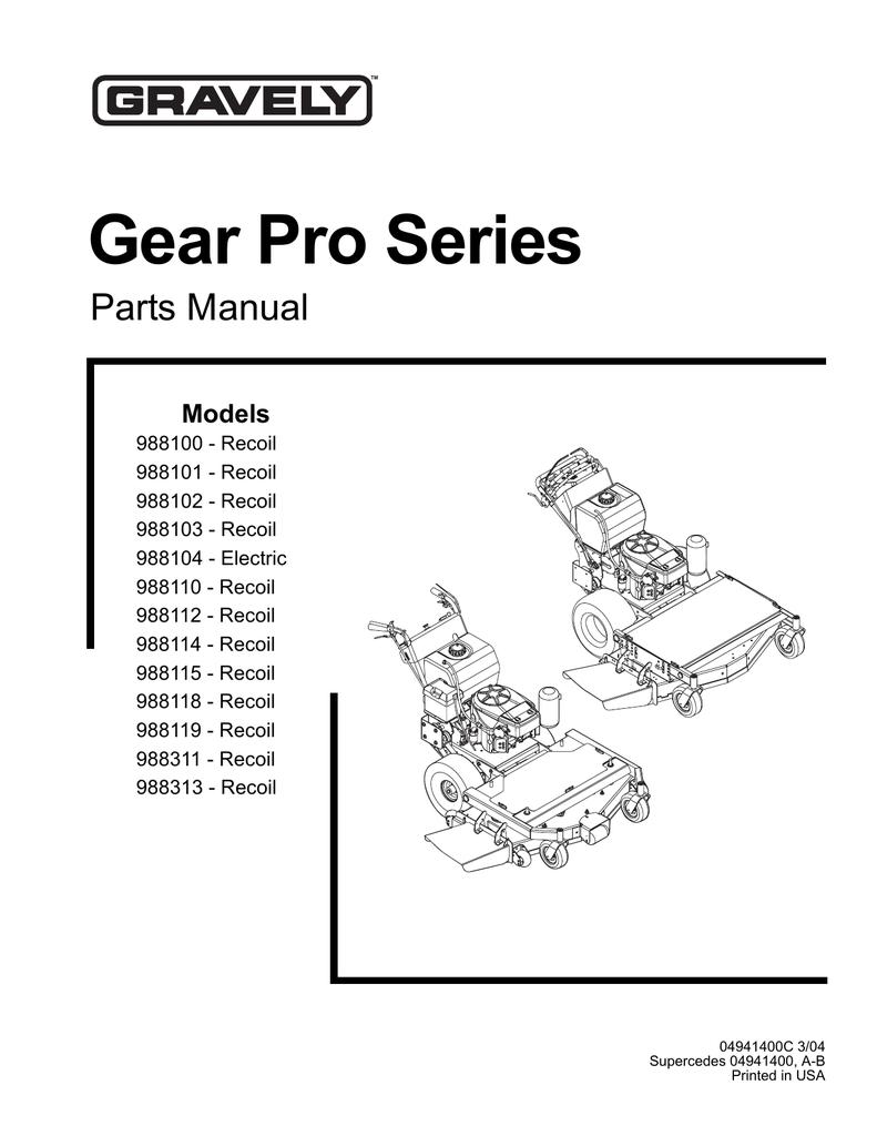 Gravely 988100 Lawn Mower User Manual Manualzz