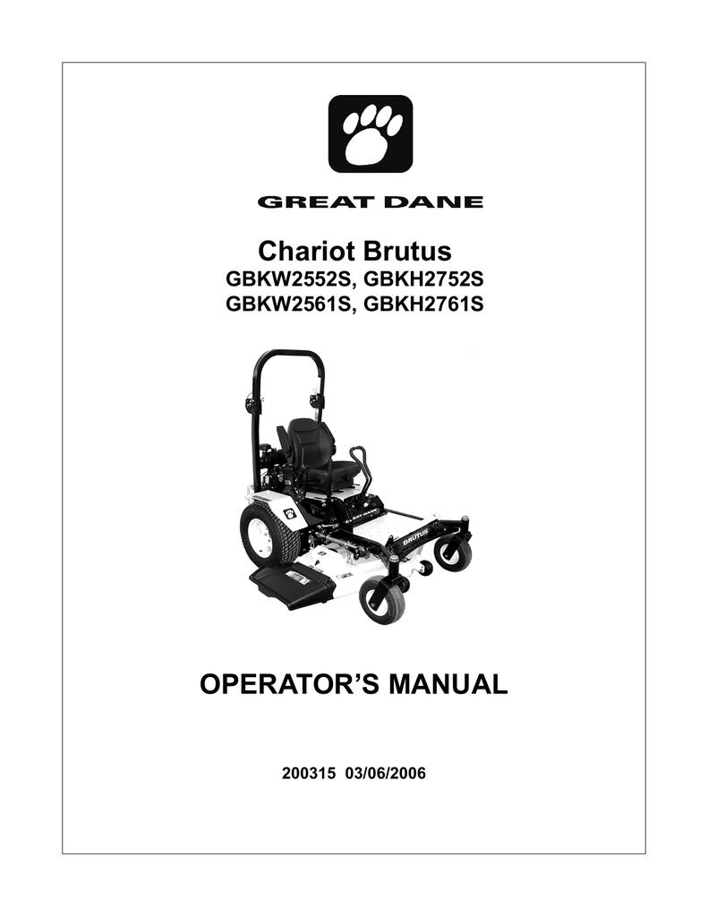 Great Dane Gbkh2752s Lawn Mower User Manual Wiring Schematic