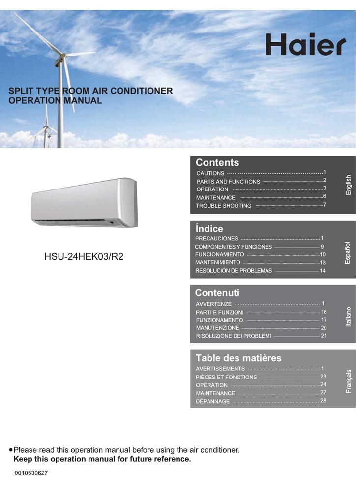 Haier 0010530627 Air Conditioner User Manual Manualzz Com