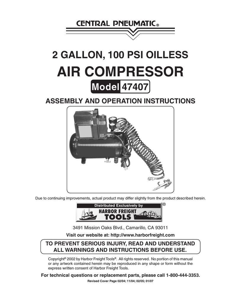Harbor Freight Tools 47407 Air Compressor User Manual   Manualzzmanualzz
